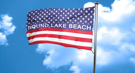 lake beach: round lake beach, 3D rendering, city flag with stars and stripes Stock Photo