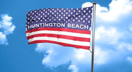 huntington beach: huntington beach, 3D rendering, city flag with stars and stripes