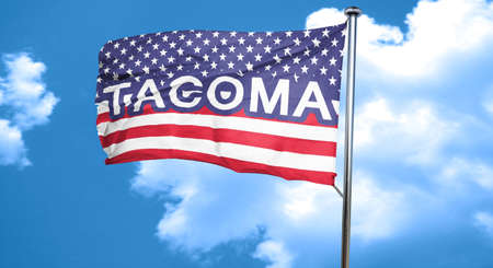 tacoma: tacoma, 3D rendering, city flag with stars and stripes