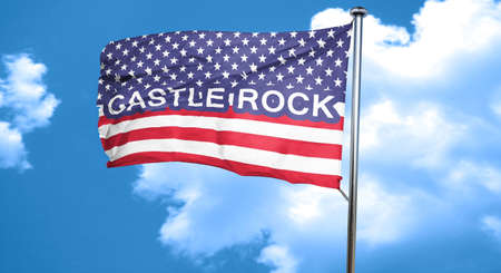 castle rock: castle rock, 3D rendering, city flag with stars and stripes