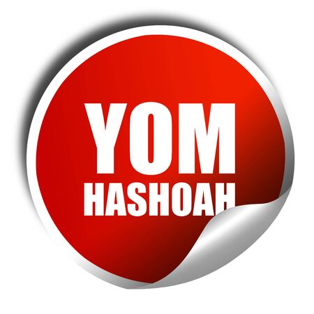 death camp: yom hashoah, 3D rendering, a red shiny sticker