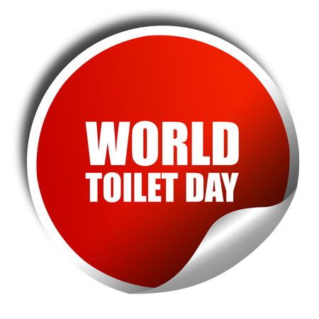 isolation tank: world toilet day, 3D rendering, a red shiny sticker Stock Photo