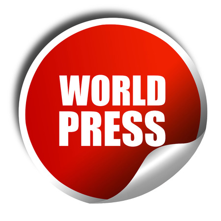 repression: world press, 3D rendering, a red shiny sticker