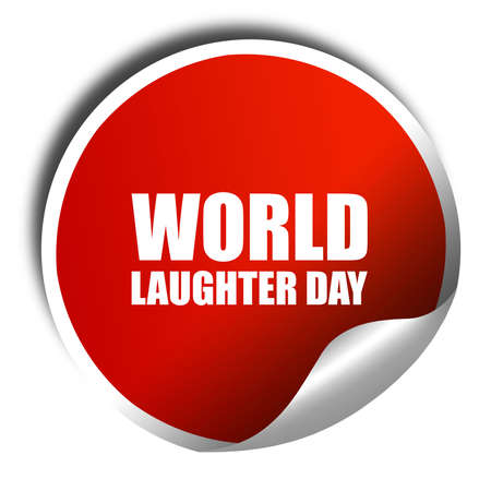 laughter: world laughter day, 3D rendering, a red shiny sticker