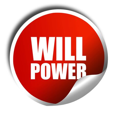 willpower: willpower, 3D rendering, a red shiny sticker