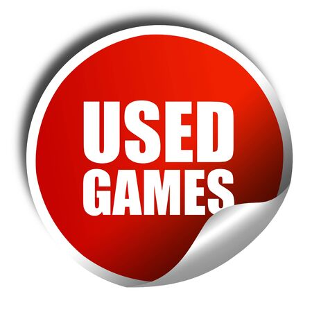 users video: used games, 3D rendering, a red shiny sticker Stock Photo