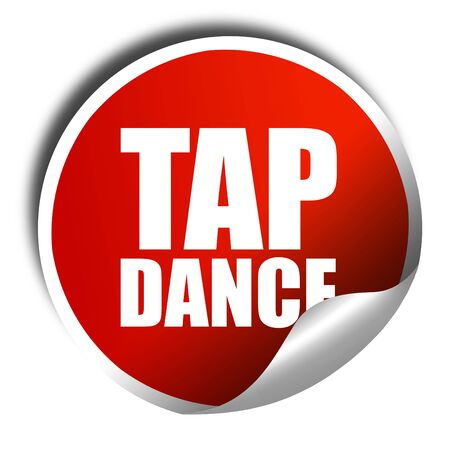 3d dance: tap dance, 3D rendering, a red shiny sticker Stock Photo
