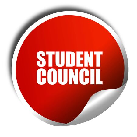 student council, 3D rendering, a red shiny sticker