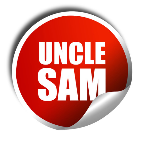 montgomery: uncle sam, 3D rendering, a red shiny sticker