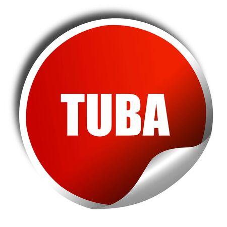 tuba: tuba, 3D rendering, a red shiny sticker Stock Photo