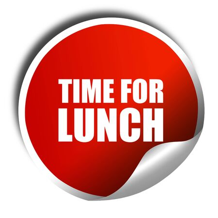 regenerate: time for lunch, 3D rendering, a red shiny sticker
