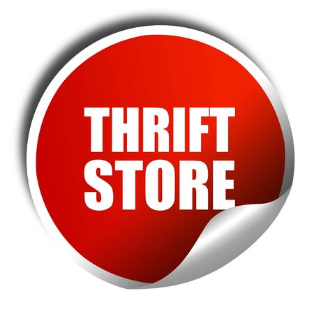 thrift store: thrift store, 3D rendering, a red shiny sticker