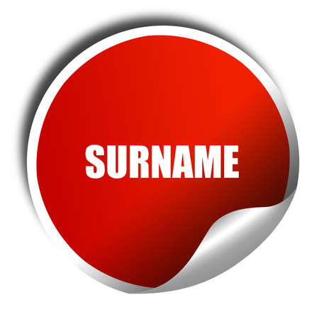 surname: surname, 3D rendering, a red shiny sticker
