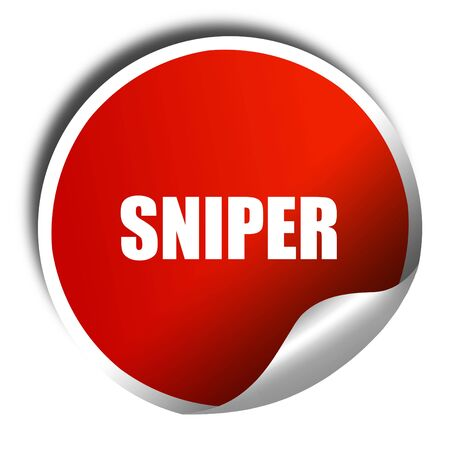 marksman: sniper, 3D rendering, a red shiny sticker