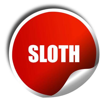 sloth: la pereza, la representación 3D, una pegatina de color rojo brillante Foto de archivo