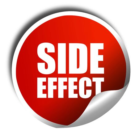 adverse reaction: side effect, 3D rendering, a red shiny sticker