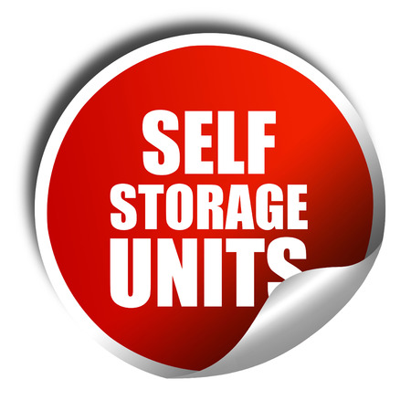 storage units: self storage units, 3D rendering, a red shiny sticker Stock Photo
