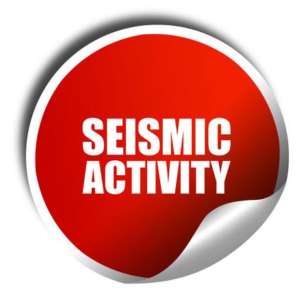 seismograph: seismic activity, 3D rendering, a red shiny sticker Foto de archivo