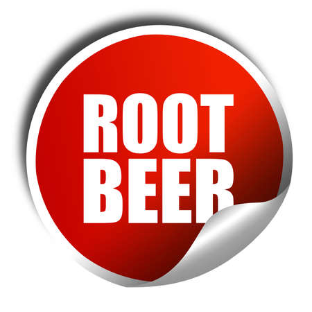 root beer: root beer, 3D rendering, a red shiny sticker Stock Photo