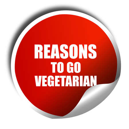 reasons: reasons to go vegetarian, 3D rendering, a red shiny sticker Stock Photo
