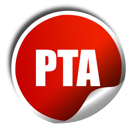 pta, 3D rendering, a red shiny sticker
