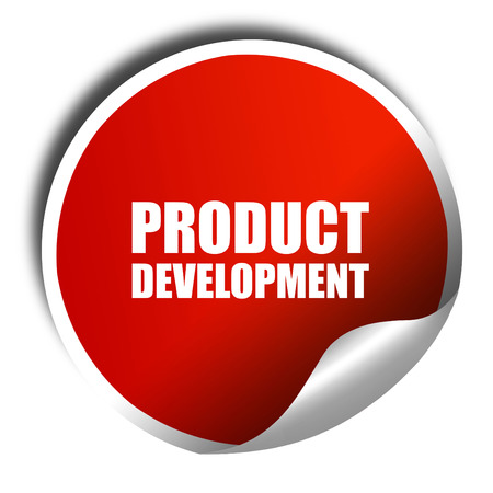 commercialization: product development, 3D rendering, a red shiny sticker Stock Photo
