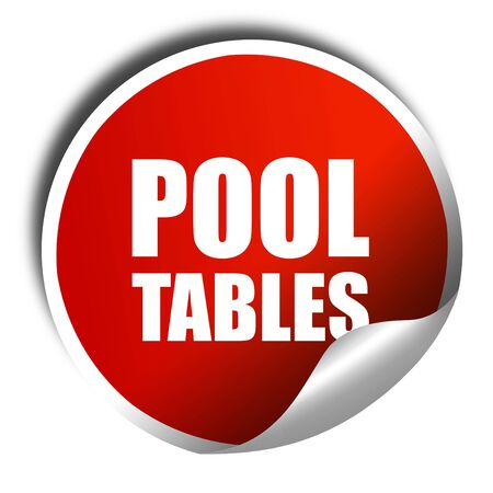 pool tables: pool tables, 3D rendering, a red shiny sticker