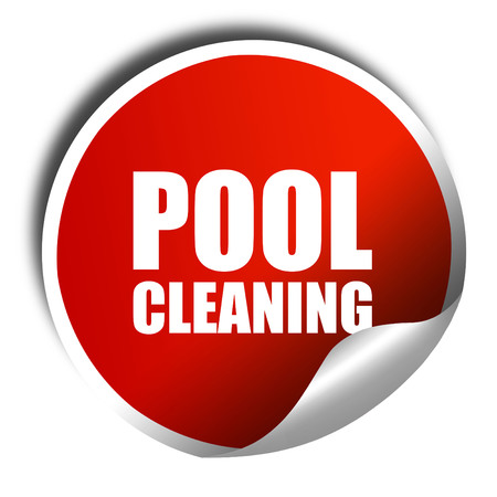 skim: pool cleaning, 3D rendering, a red shiny sticker