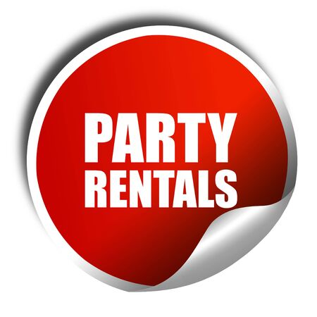 rentals: party rentals, 3D rendering, a red shiny sticker