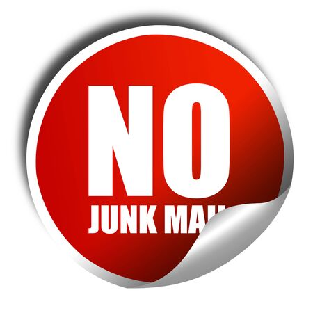 junk mail: no junk mail, 3D rendering, a red shiny sticker