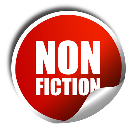 non: non fiction, 3D rendering, a red shiny sticker