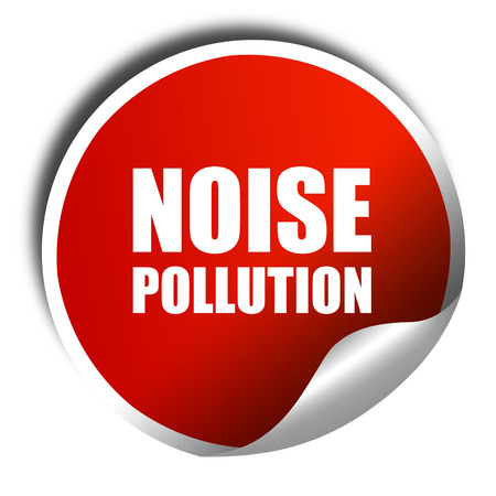 noise isolation: noise pollution, 3D rendering, a red shiny sticker Stock Photo