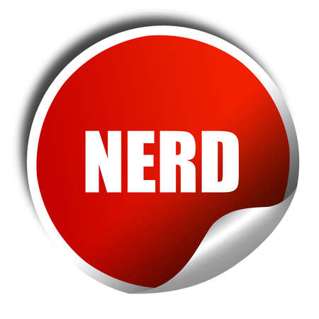 rimmed: nerd, 3D rendering, a red shiny sticker