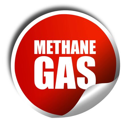 methane: methane gas, 3D rendering, a red shiny sticker