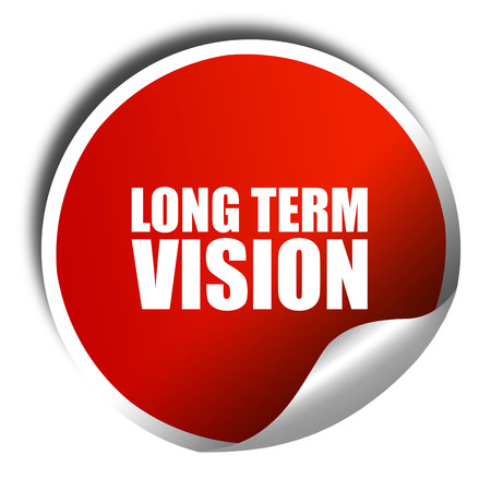 long term: long term vision, 3D rendering, a red shiny sticker Stock Photo