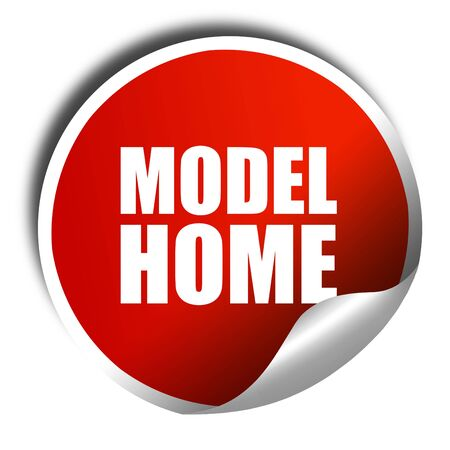 model home: model home, 3D rendering, a red shiny sticker Stock Photo