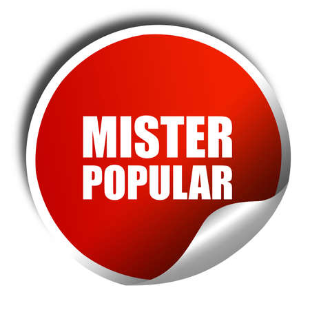 mister: mister popular, 3D rendering, a red shiny sticker Stock Photo