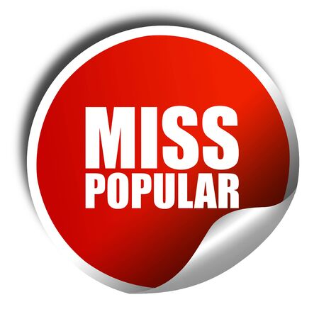 most talent: miss popular, 3D rendering, a red shiny sticker Stock Photo