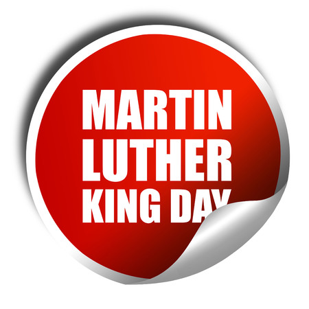 martin luther king: martin luther king day, 3D rendering, a red shiny sticker Stock Photo