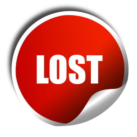 doomed: lost, 3D rendering, a red shiny sticker Stock Photo