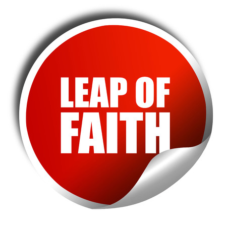 confined space: leap of faith, 3D rendering, a red shiny sticker
