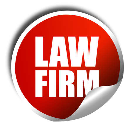 information technology law: law firm, 3D rendering, a red shiny sticker