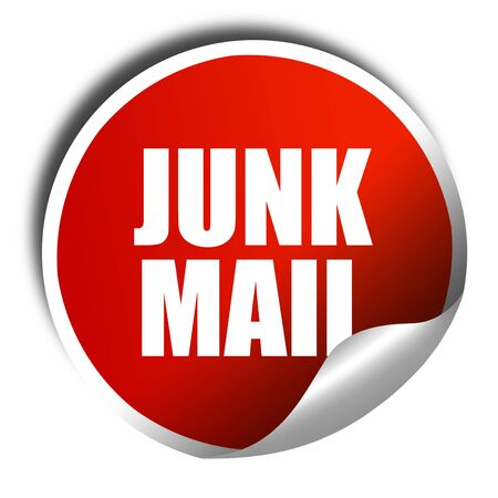 junk mail: junk mail, 3D rendering, a red shiny sticker Stock Photo