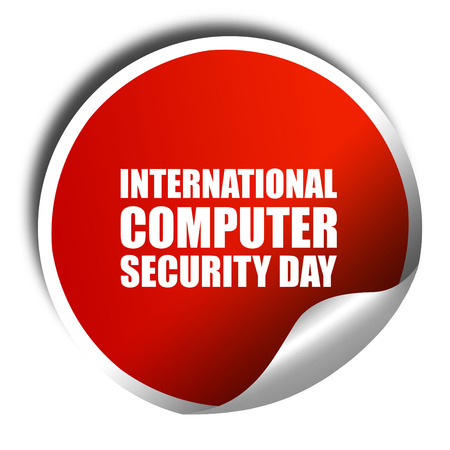 international security: international computer security day, 3D rendering, a red shiny sticker Stock Photo