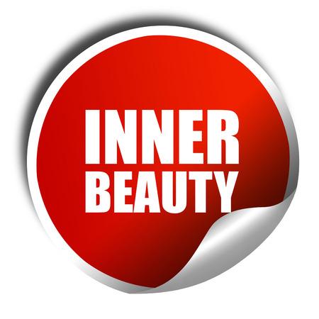 inner beauty: inner beauty, 3D rendering, a red shiny sticker