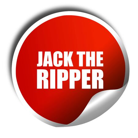 ripper: jack the ripper, 3D rendering, a red shiny sticker Stock Photo
