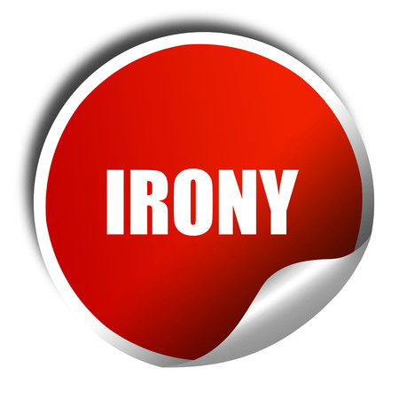 snob: irony, 3D rendering, a red shiny sticker