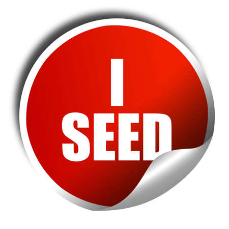 unlawful: i seed, 3D rendering, a red shiny sticker Stock Photo