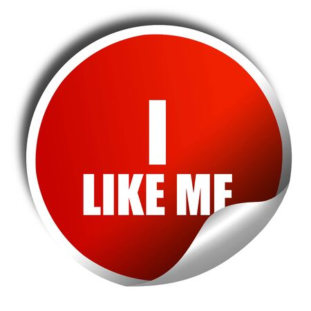 free me: i like me, 3D rendering, a red shiny sticker