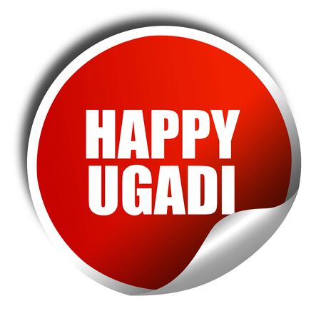marathi: happy ugadi, 3D rendering, a red shiny sticker Stock Photo